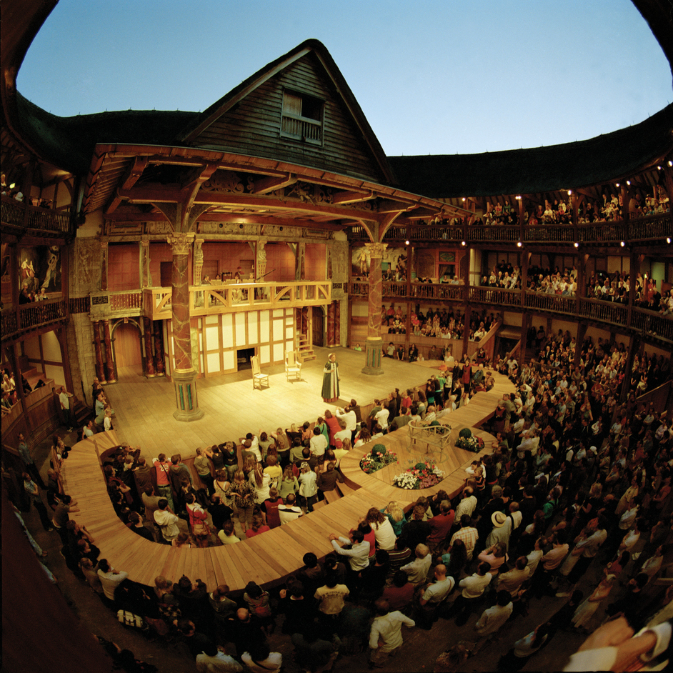 A 2008 production of Merry Wives at the Globe. Those are artificial lights, by the way. And that's not the normal Globe stage. Photo by John Tramper.